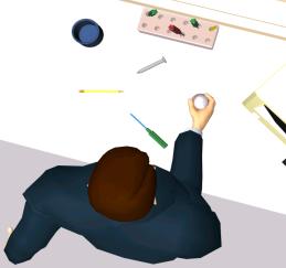 Virtual Human grasping a ball